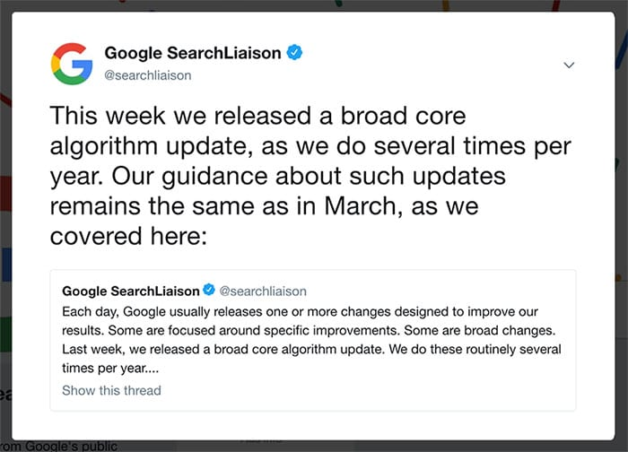 Google Medic Update Notice